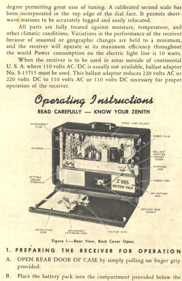 1953 Zenith Model H500 Transoceanic. Below Is A Page From The Operating Guide Showing Tube Layout. Wiring. Zenith Tube Radio Schematics H500 At Scoala.co