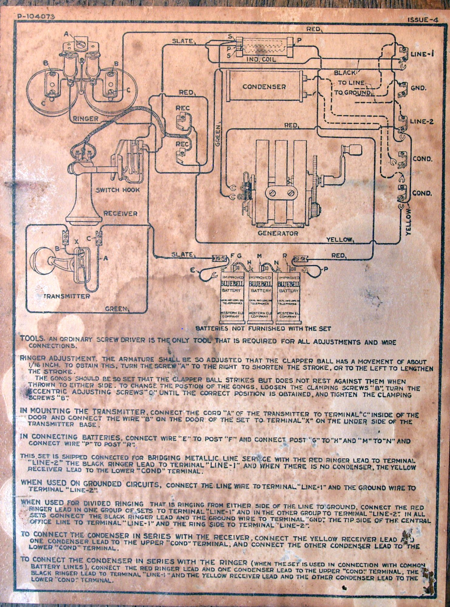 WE_Wall_Phone_Schematic diagrams old telephone wiring diagram bell old rotary phone  at n-0.co